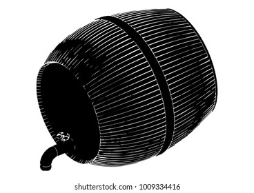 black barrel on white background, vector image
