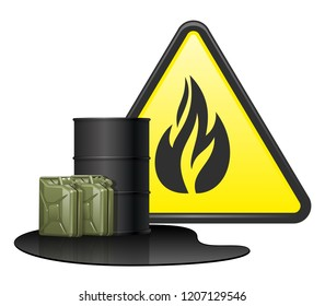 Black barrel for transport petroleum products, oil, chemical. Two green fuel canisters in puddle gasoline. Yellow sign danger with fire. EPS10 vector illustration isolated on white background.