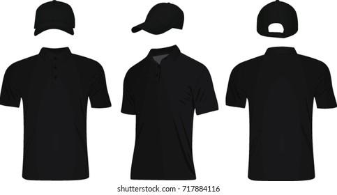 Black baseball cap and polo t shirt. vector illustration