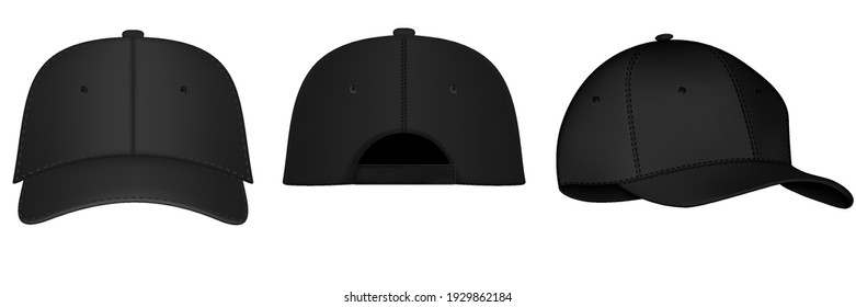 Black baseball cap. Realistic back, front and side view black baseball cap isolated on white background vector illustration. Design template, vector eps10 illustration.