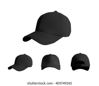 Black baseball cap set, front, side, back views, vector eps10 illustration isolated on white background