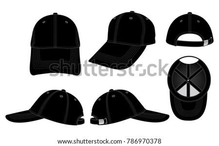 black baseball cap template stock vector royalty free 786970378