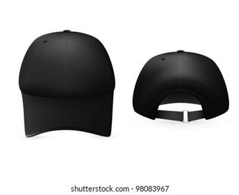 Black baseball cap template. Front and rear views.