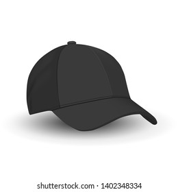 Black Baseball Cap Template. Vector Hat Mockup Isolated on White. Basic Black Blank of Sport Wear Hat. Side View. Tennis Sports Merchandise. Realistic Illustration Design. Modern Fashion Clothes.