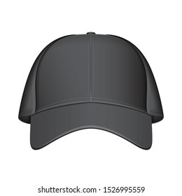 Black baseball cap. Vector realistic illustration. Front view for your design