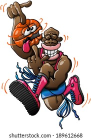 Black basketball player wearing red tank and boots and blue shorts while performing an acrobatic high jump and spinning a ball which looks dizzy, crossing its eyes and sticking its tongue out