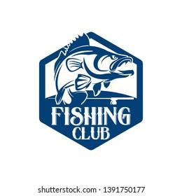 Black Bass Fishing Team Club Logo Template Vector
