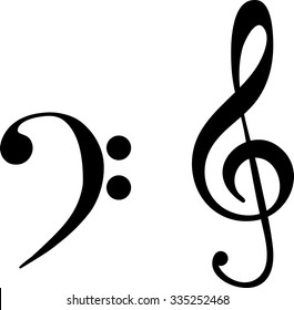 black the bass and treble clef, the notes vector