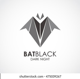Black bat of animal logo design vector template and abstract flying business symbol of company identity Logotype concept icon.