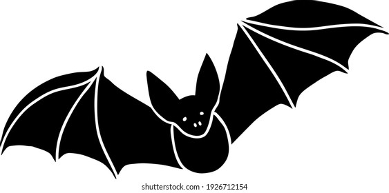 A black bat with outstretched wings on a white background. Vector illustration.