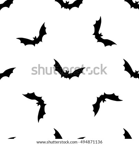 Black Bats Abstract Seamless Pattern On Stock Vector Royalty Free