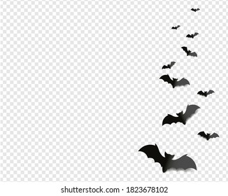 Black Bats Isolated transparent Background With Gradient Mesh, Vector Illustration