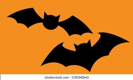Black  bats on orange isolated background. Bats silhouettes. Halloween concept. Vector Illustration.