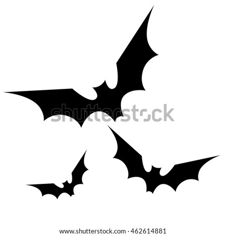 black bats silhouette halloween spooky isolated vector illustration