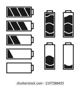 Black batteri set icon. Batteries with different degree of energy. Vector.