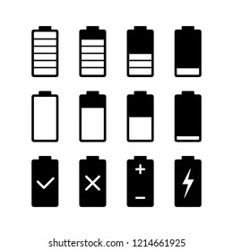 Black battery charge indicator icons in level status, simple shape power source running charging flat design infographics vector, app web button ui interface element isolated on white background