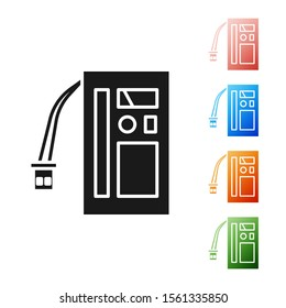 Black Battery icon isolated on white background. Accumulator battery energy power and electricity accumulator battery. Set icons colorful. Vector Illustration