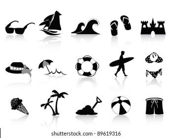 black beach icon set