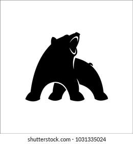 Black bear art illustration silhouette on a white background
