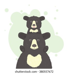 A black bear cub sitting on a papa bear's shoulders, a single composition on a white and light-green background. Vector illustration