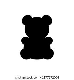 Black bear icon on white background. Logo of bear on light background. Nice teddy bear toy icon.