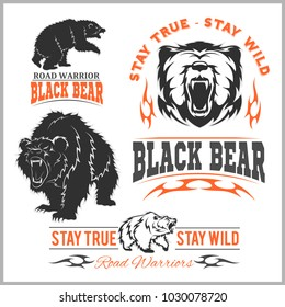 black bear for logo, sport team emblem, design elements and labels on white background