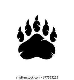Black Bear Paw With Claws. Raster Illustration Isolated On White