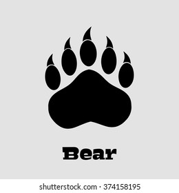 Black Bear Paw With Claws. Vector Illustration Background And Text