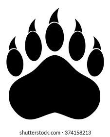 Black Bear Paw With Claws. Vector Illustration Isolated On White