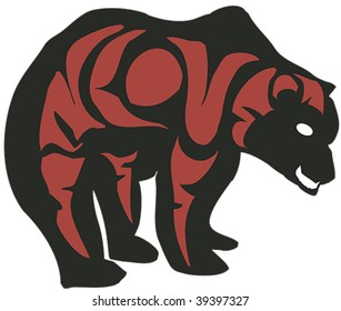 Black bear with red details rendered in Northwest Coast Native style.
