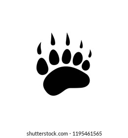 black bear trace silhouette. Vector flat illustration. polar bear paw footprint, footstep isolated on white