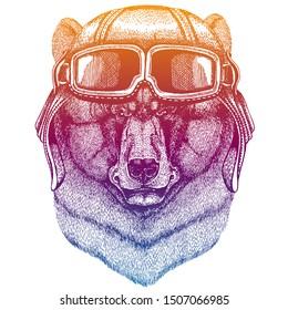 Black bear wearing vintage aviator leather helmet. Image in retro style. Flying club or motorcycle biker emblem. Vector illustration, print for tee shirt, badge logo patch