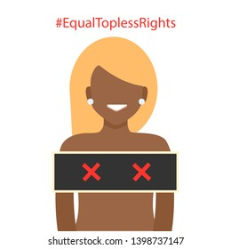 Black beautiful blond woman in topless. Equal topless rights. Isolated on White Background. Cartoon Flat Vector Illustration, Clip Art
