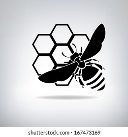 Black bees and honey. Company logo design.