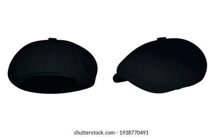 Black beret cap. vector illustration
