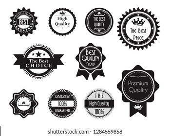 Black Best Quality Guaranteed Stamp Seal Badge Label