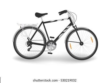 Black bicycle. Bike isolated on white background. Sport, transportation. Vector illustration.