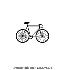Black bicycle icon. Pursuit bike icon.