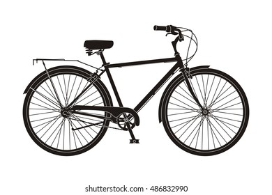 black bicycle on the white background