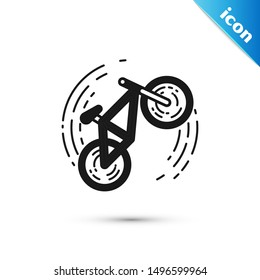 Black Bicycle trick icon isolated on white background. Bike race. Extreme sport. Sport equipment.  Vector Illustration