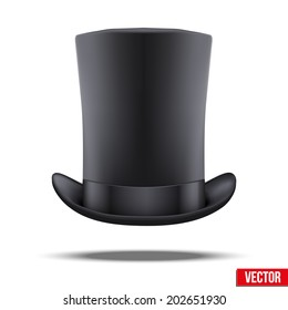 Black big gentleman hat cylinder with ribbon. Vector Illustration. Isolated on white background.