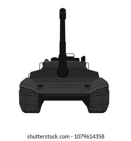 Black Big military tank silhouette illustration vector with high detailed and front view point.