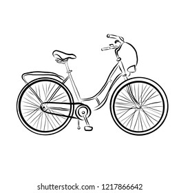 Black bike isolated on white background, sketch. Vector illustration, clipart.
