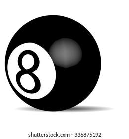 Black billiard ball Eight. Object game, pool recreation, leisure snooker. Vector art design abstract unusual fashion illustration