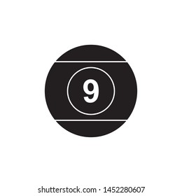 black billiard ball icon on white background. simple vector logo art for tournament illustration and sport apps. eps 10