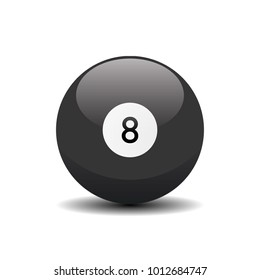 Black billiard ball with number eight 8. Vector 3d ilustration icon
