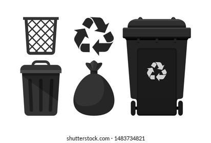 Black Bin set, Recycle Bin and Black Plastic Bags Waste isolated on white Background, Bins Black with Recycle Waste Symbol, Front view set of the Bins and Bag Plastic for Garbage waste, 3r Trash