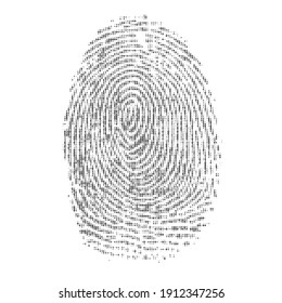 Black binary code finger print isolated on white background. Digital human path with one and zero numbers background