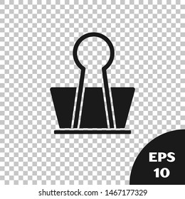 Black Binder clip icon isolated on transparent background. Paper clip.  Vector Illustration