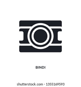 black bindi isolated vector icon. simple element illustration from religion concept vector icons. bindi editable logo symbol design on white background. can be use for web and mobile